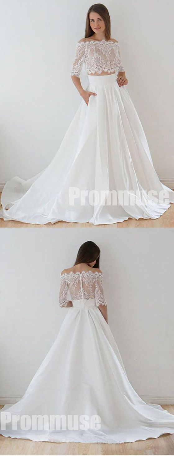 Half sleeves off the shoulder lace top long wedding dresses pm