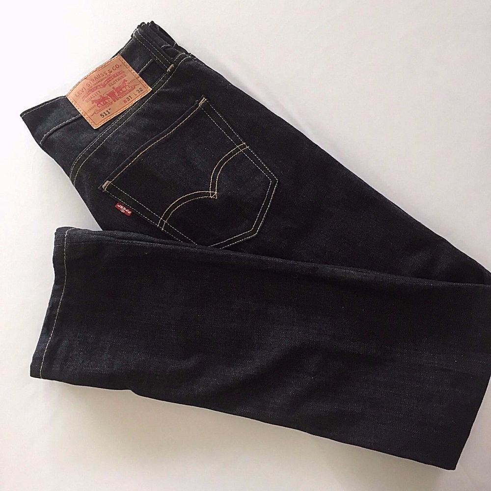 9feb485e3b2 Levis 511 W 31 L 32 Black Skinny Jeans Denim Mens Levi Strauss 31 x 32  Stretch