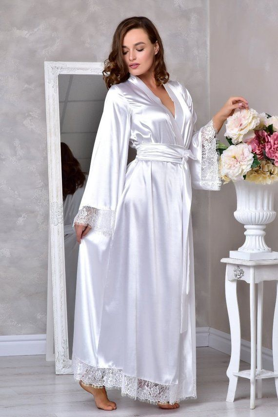 2c9d1234a9 White long bridal robe Wedding kimono robe Long lace bridal robe Bridal  dressing gown Long robes for