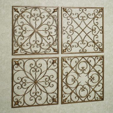 Lachandra Satin Gold Iron Square Wall Grille Set | art | Pinterest ...
