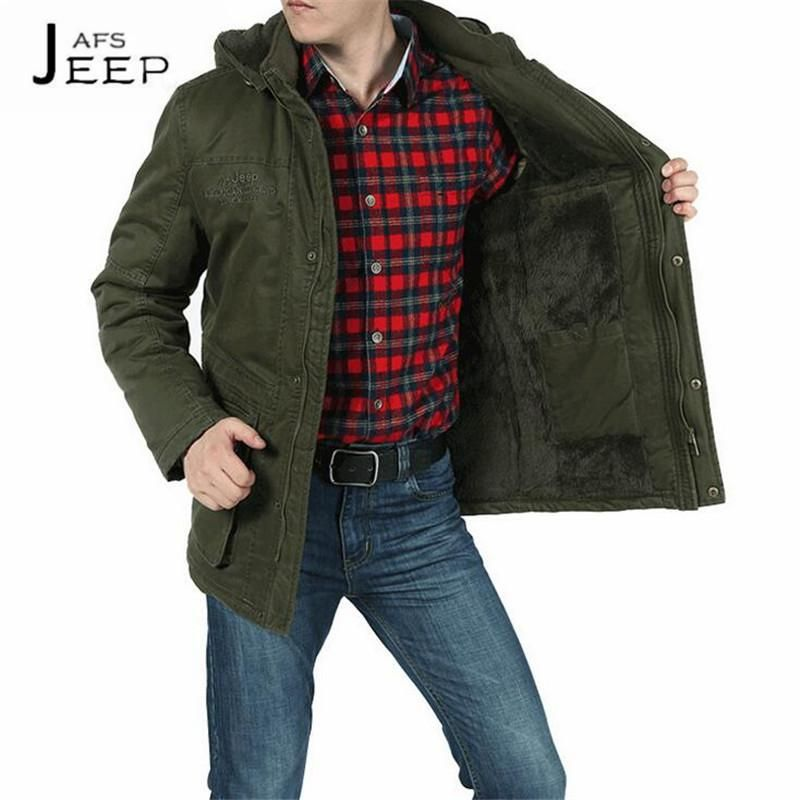 3056eb8b528 AFS JEEP Khaki army green black 100% Cotton mans military loose thickness cotton  coats