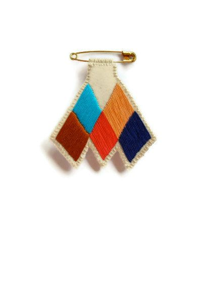 Chevron diamond badge embroidered coral blue by AnAstridEndeavor
