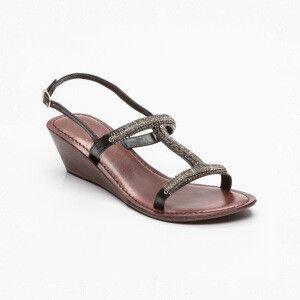 Sandalias de cuña, cuero Negro y plateado Cuña: 5,5 cm