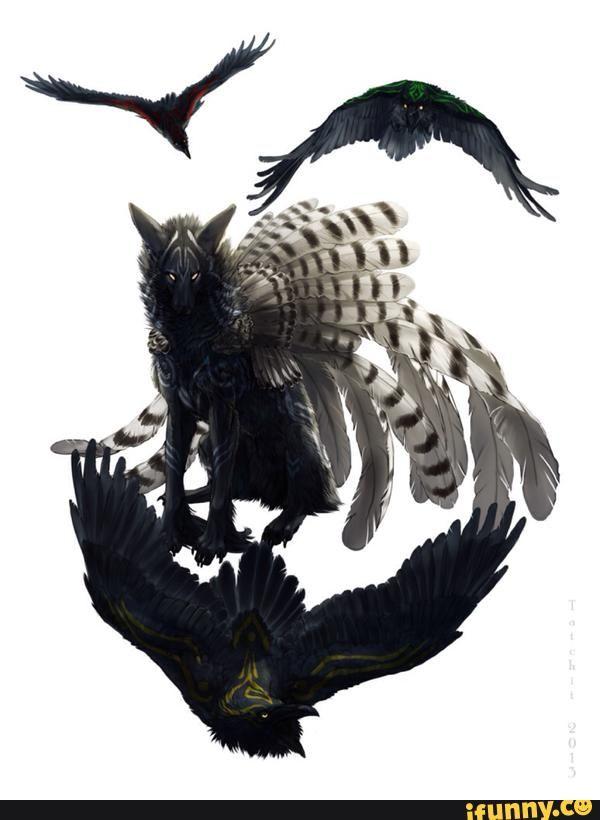 Wolf Bird Hybrid Raven Tatchit Fantasy Creatures Animal Art