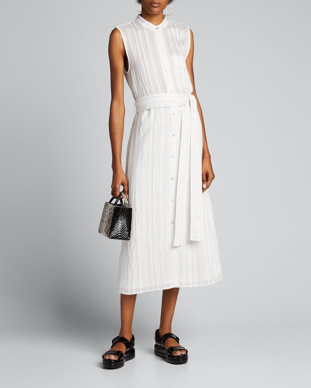 Striped Sleeveless Drapey Shirtdress Shirt Dress White Shirt Dress Vince Dress [ 1500 x 1200 Pixel ]