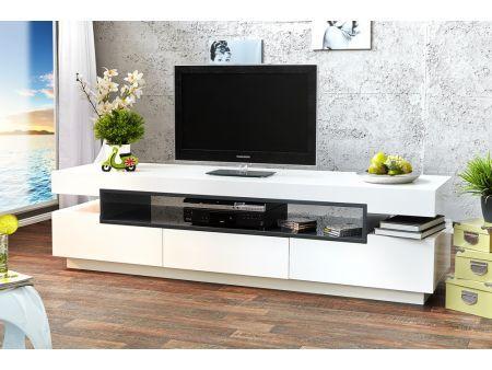 meuble tv design blanc laqugris 3 tiroirs palace 200 cm chez royale deco shopandbuy - Meuble Tv Blanc Glossy