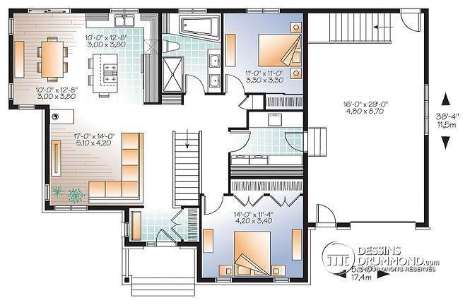 WV Plan De Maison De Style Nordique Aire Ouverte Avec - Plan salle de bain moderne