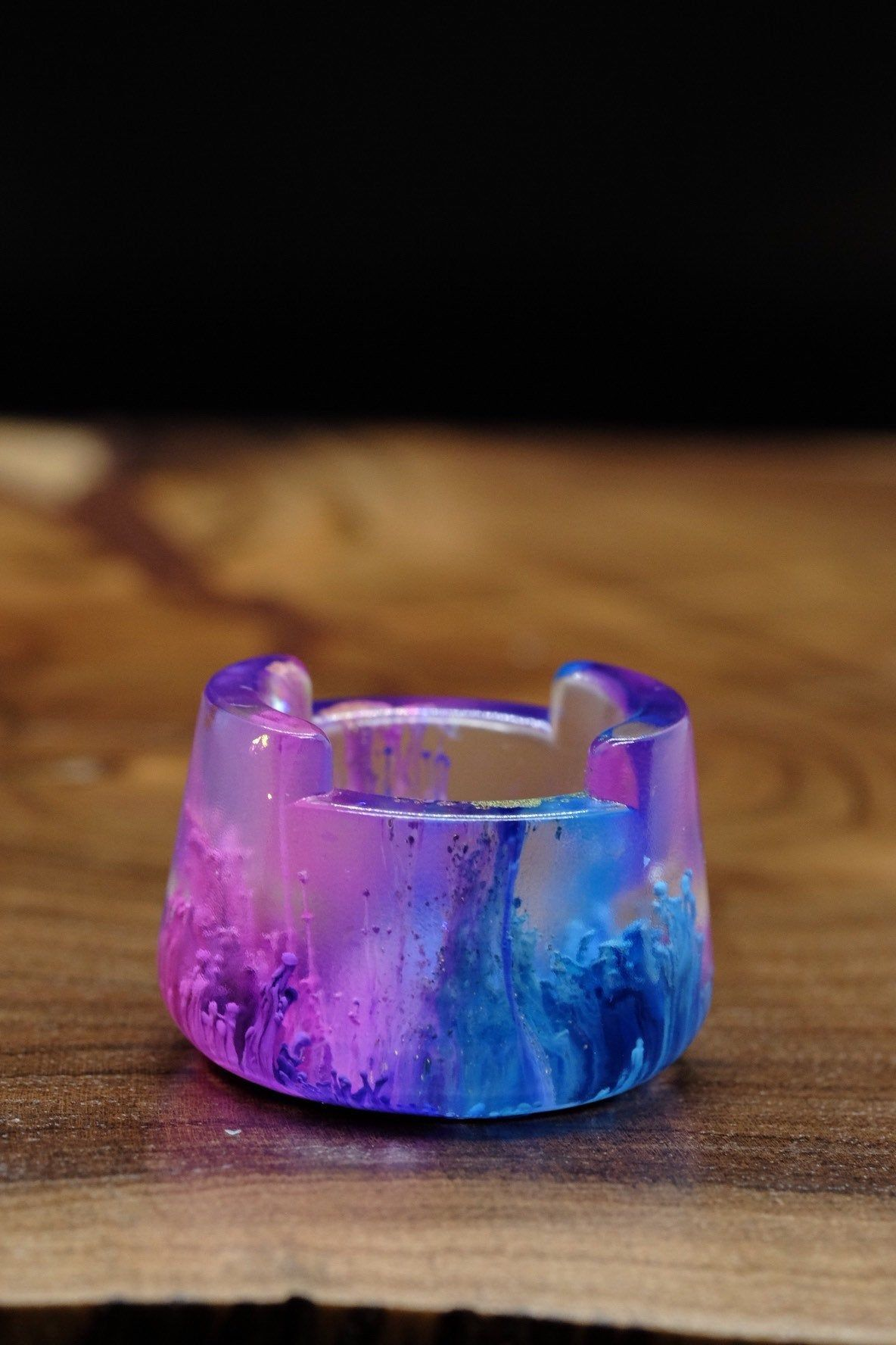 Bubble Cap Holder Clear With Pink Blue And Purple Carb Cap Bubbles Clear Resin
