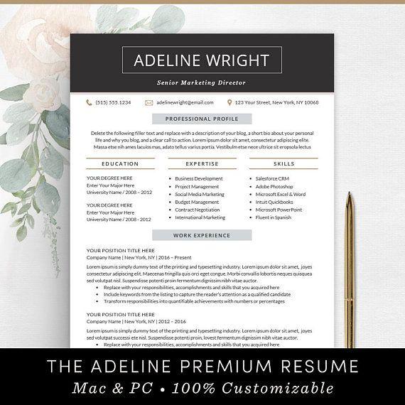 Resume Template Professional Resume Design Instant Download CV - professional resume template free
