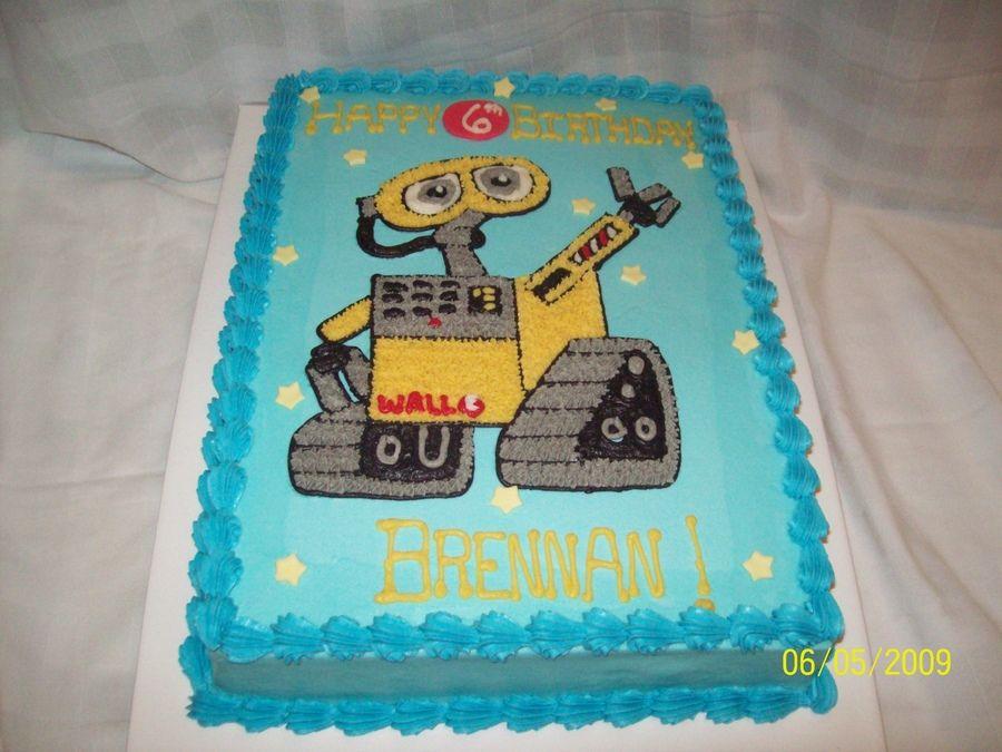 11x15 Sheet Cake Iced In Buttercream Wall E Drawn Freehand Fondant Stars
