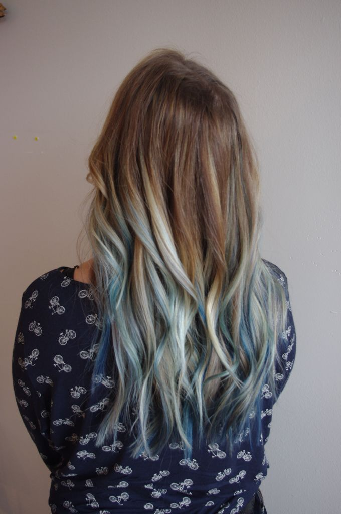 A Touch Of Blue Longhair Blonde Balayage Highlights Bluehair