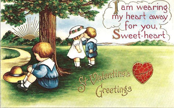 Valentine Post Card with Kissing Children from antique-ables on Ruby Lane