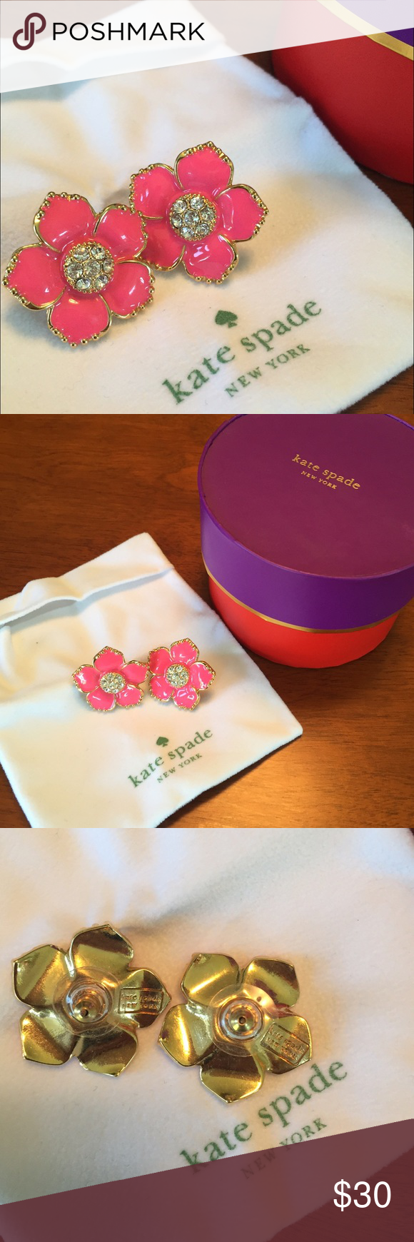 Kate Spade Pink Flower Earrings  Lovely, bright pink and gold flower earrings by Kate Spade. Perfect for that little pop of color to complement any fun summer outfit. kate spade Jewelry Earrings