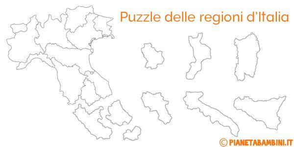 Puzzle Delle Regioni Ditalia Da Stampare Geografia Geography