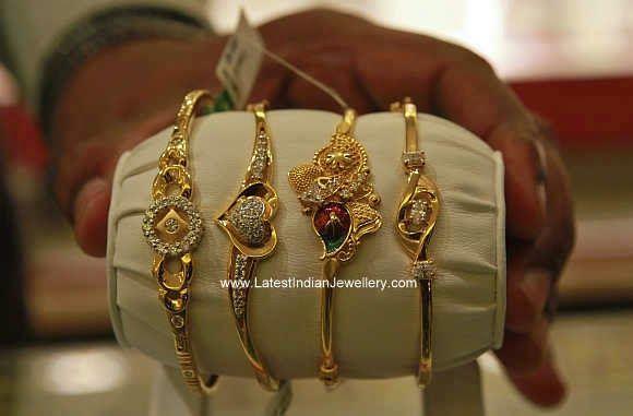 e81246b830cd29 10 gms Daily Wear Ladies Bracelets | Green | Gold bangles design ...