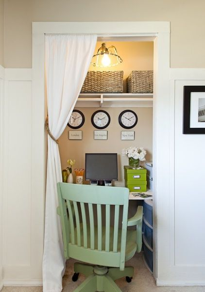 Home Office Ideas U2013 Small Working Closet Behind The Curtains