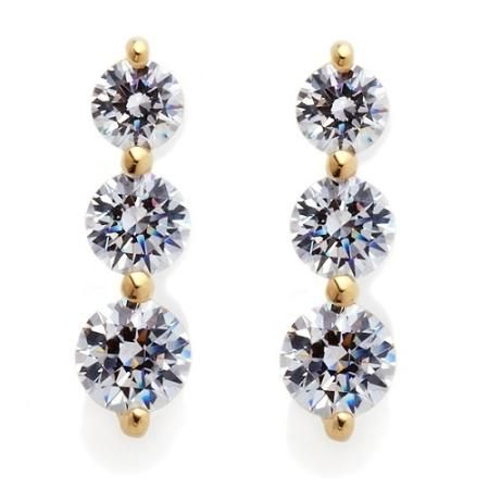 2.20ct Absolute  Graduated Round Stone Drop Earrings