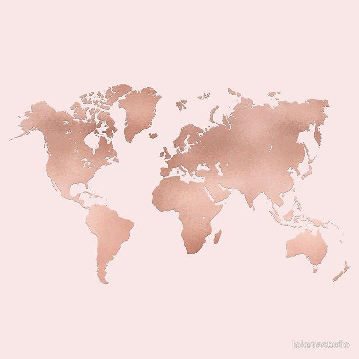 Rose Gold World Map by lolomastudio   Gold wallpaper ...