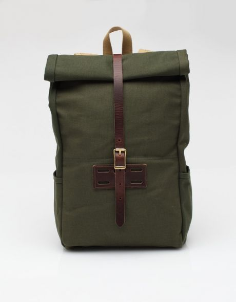 Rolltop In Olive Waxed Canvas Backpacks Fabric Bags Fashion Men