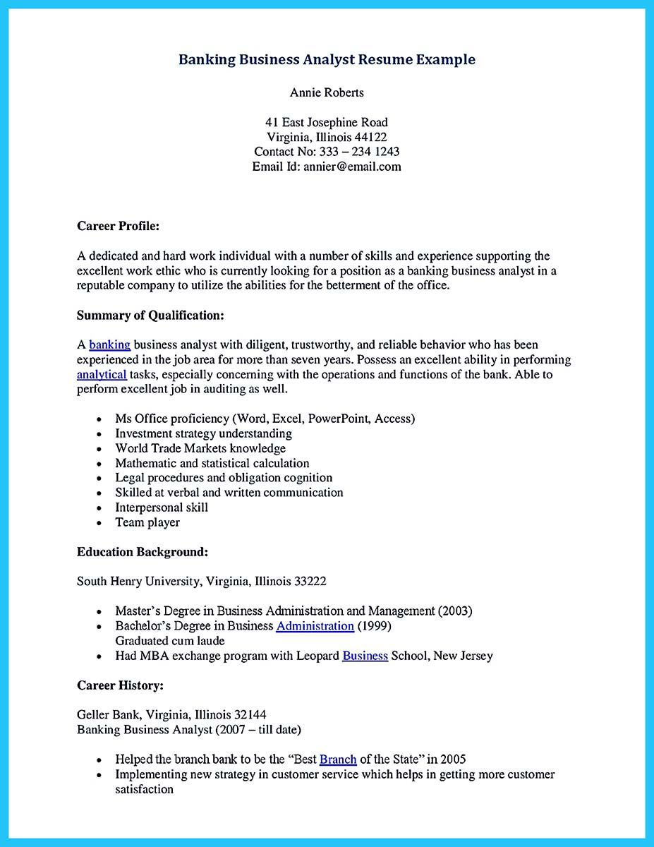 Bank Analyst Sample Resume If You Are A Business Analyst And You Just Seeking For A Job In A .