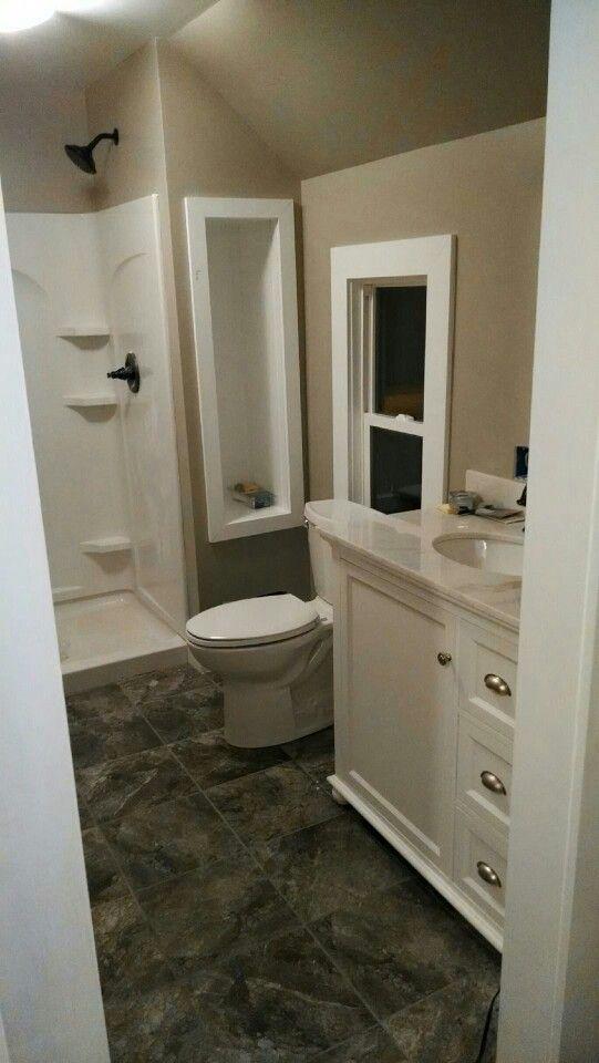 Small bathroom ideas greige walls bright white trim for Oil rubbed bronze bathroom ideas