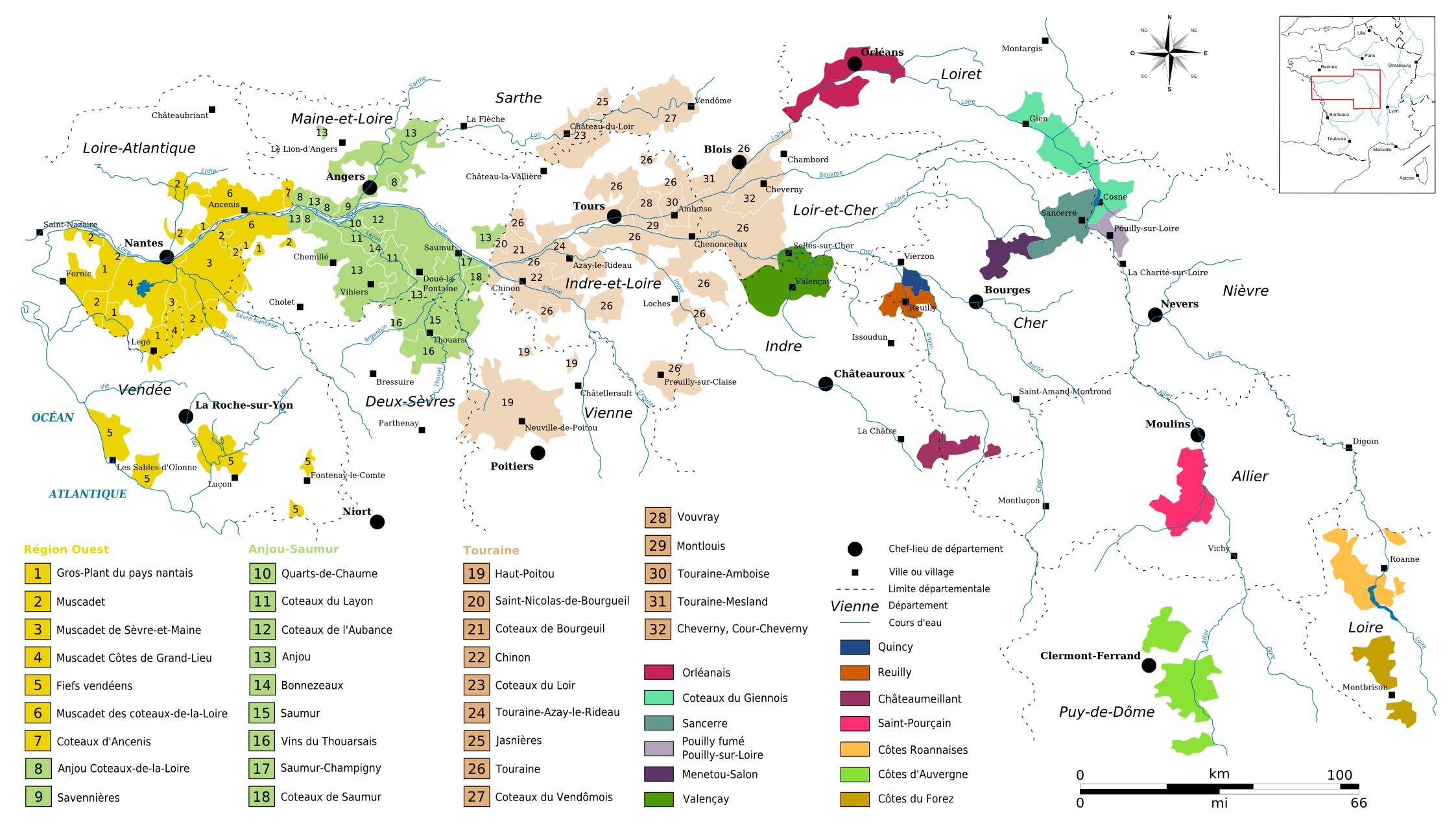 Vignobles Val De Loire Wine Map Loire Valley Wine Wine Region Map