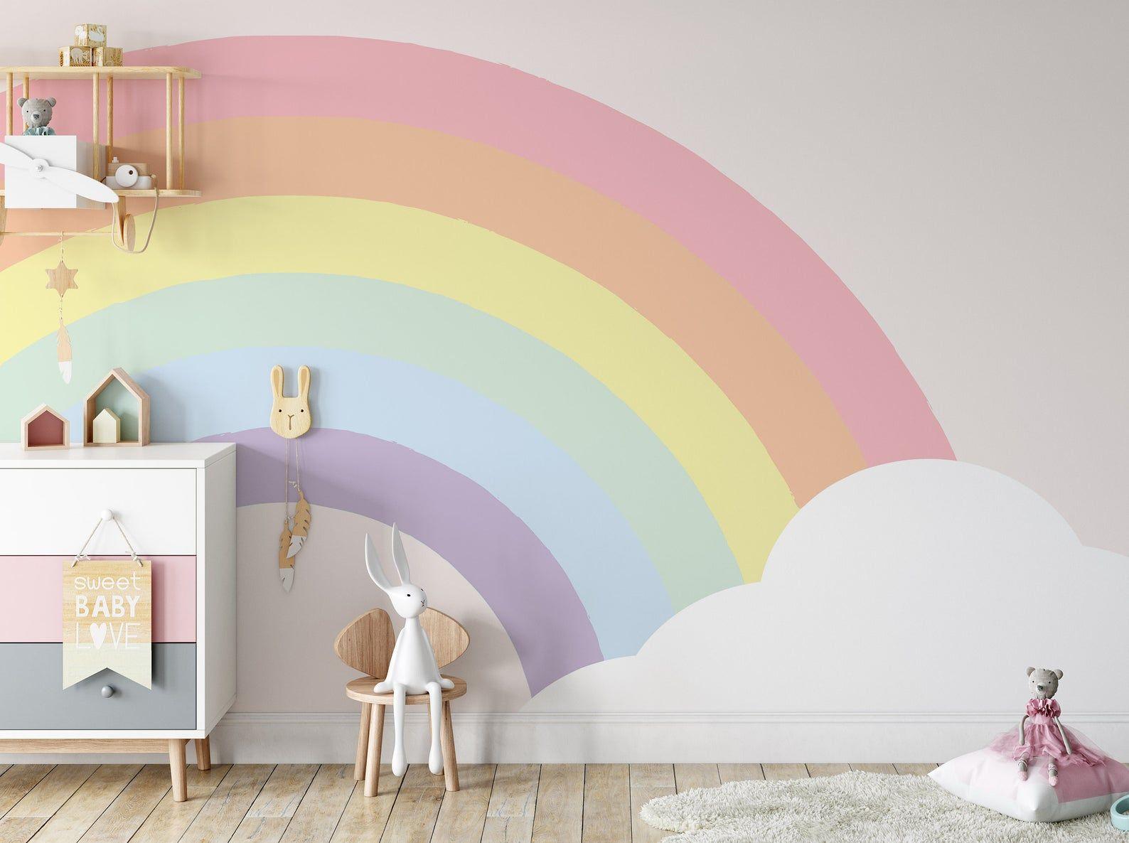 Half Rainbow And Cloud Background Wallpaper Self Adhesive Peel And Stick Wall Decoration Minimalistic Scandinavian Removable Rainbow Room Kids Kids Room Murals Rainbow Girls Room