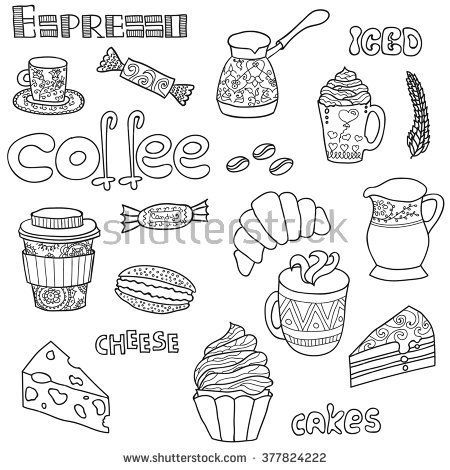 Vector Cute Coffee Icons Food And Drink Elements Adult Coloring Book Set Page For Adults