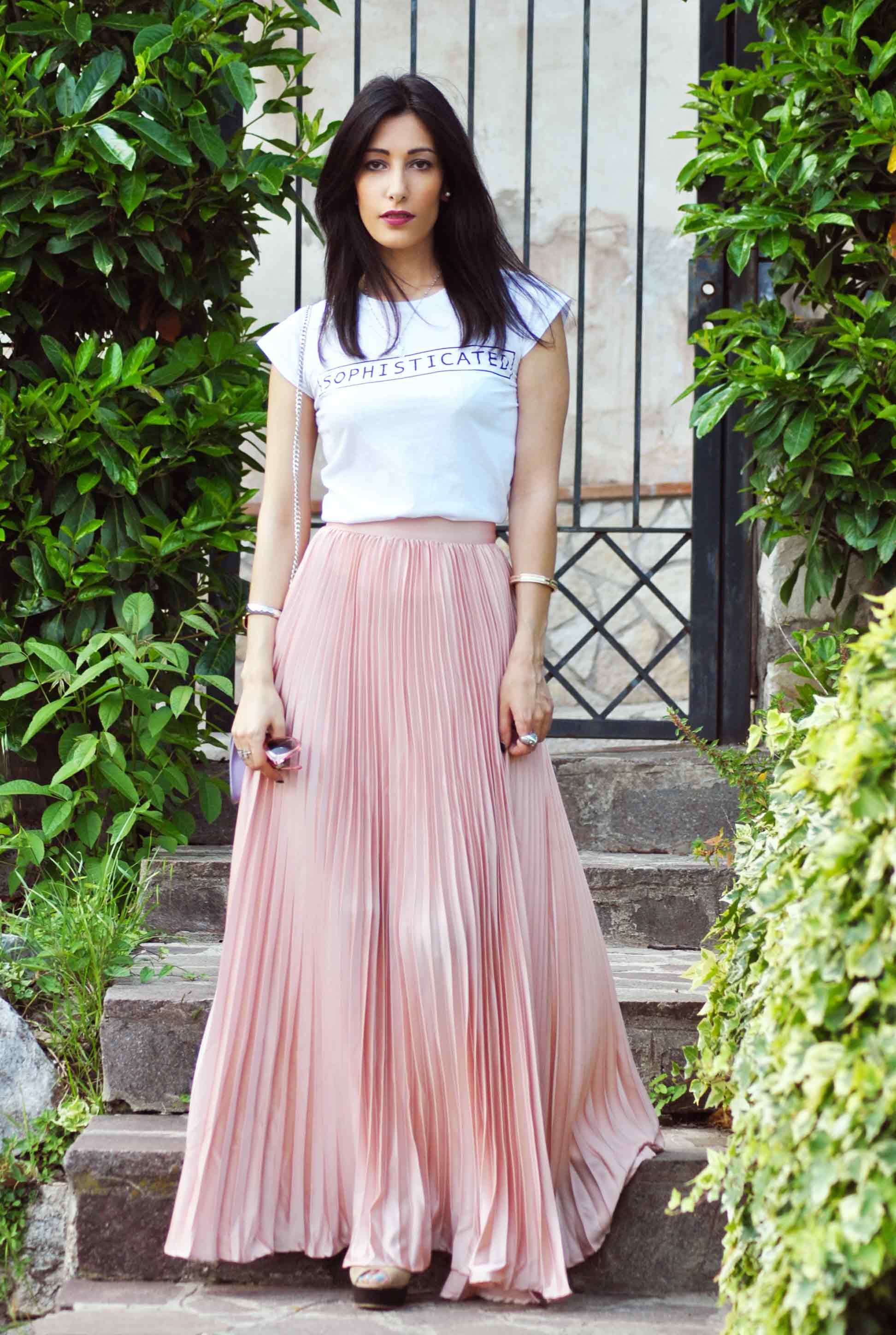 new product 18383 cd381 Gonna lunga plissettata, long pleated skirt, pink powder ...