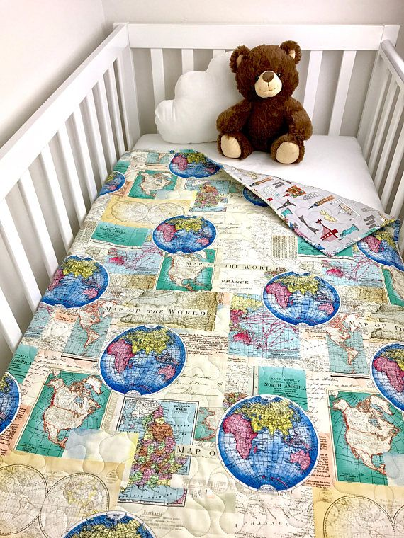 Travel Baby Quilt World Map crib Quilt Travel nursery | Romi W's
