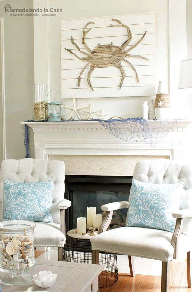 Coastal Living Room Mantel With Diy Driftwood Art Coastal Mantel