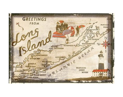 Greetings from Long Island by Vintage Vacation Art Print New York Poster 13x19
