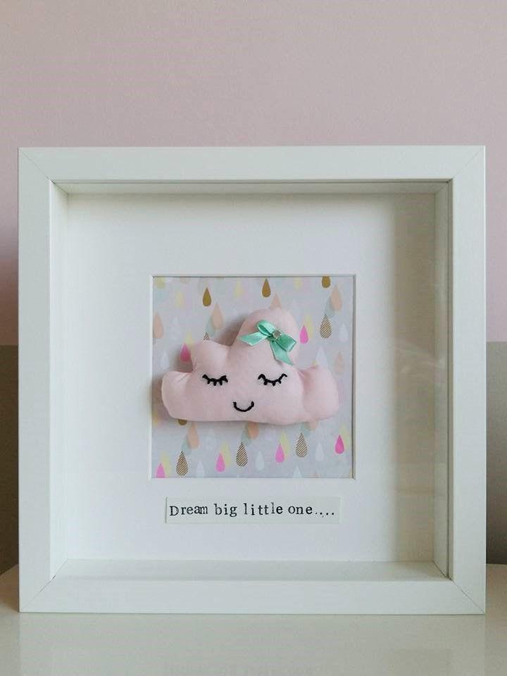Pink Fabric Cloud Art Frame Girls Nursery Dream Big Little One ...