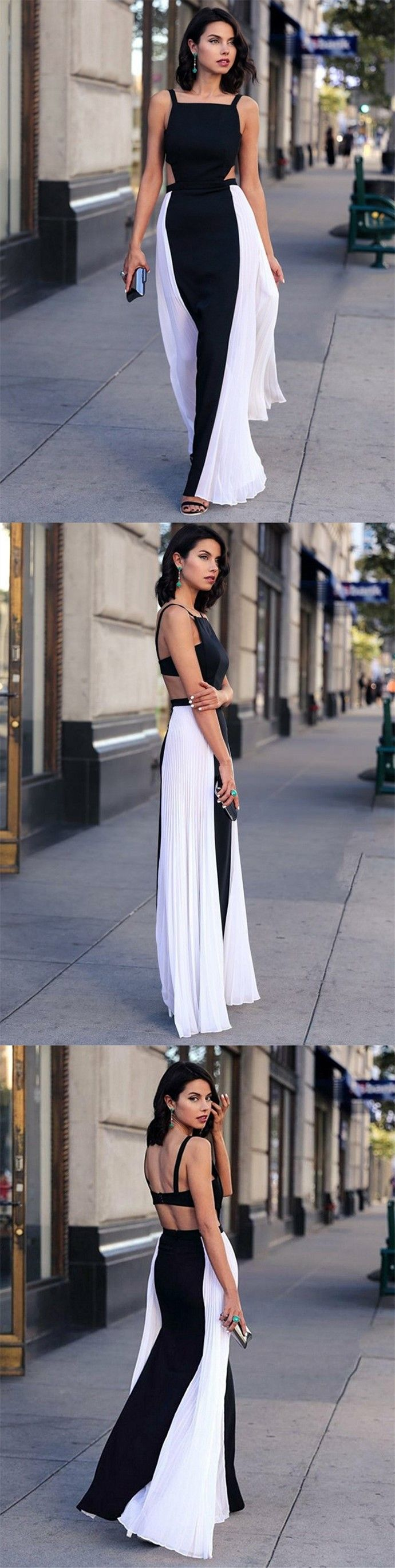 Aline square floorlength black and white chiffon open back prom