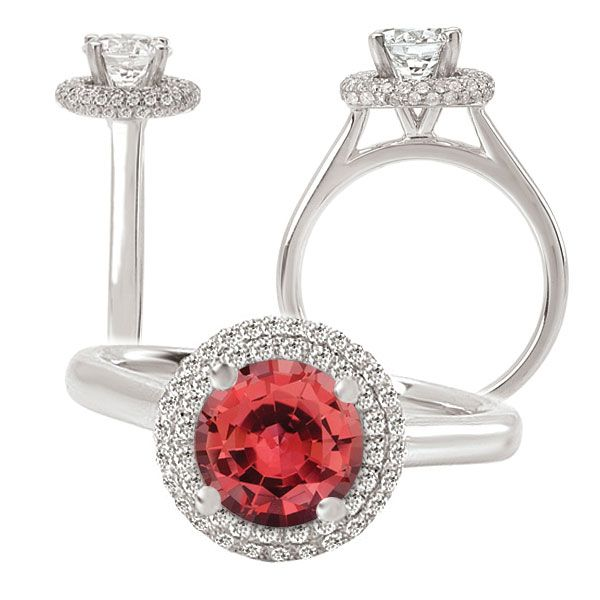 18k gold 7mm round Chatham padparadscha engagement ring with natural diamond halo
