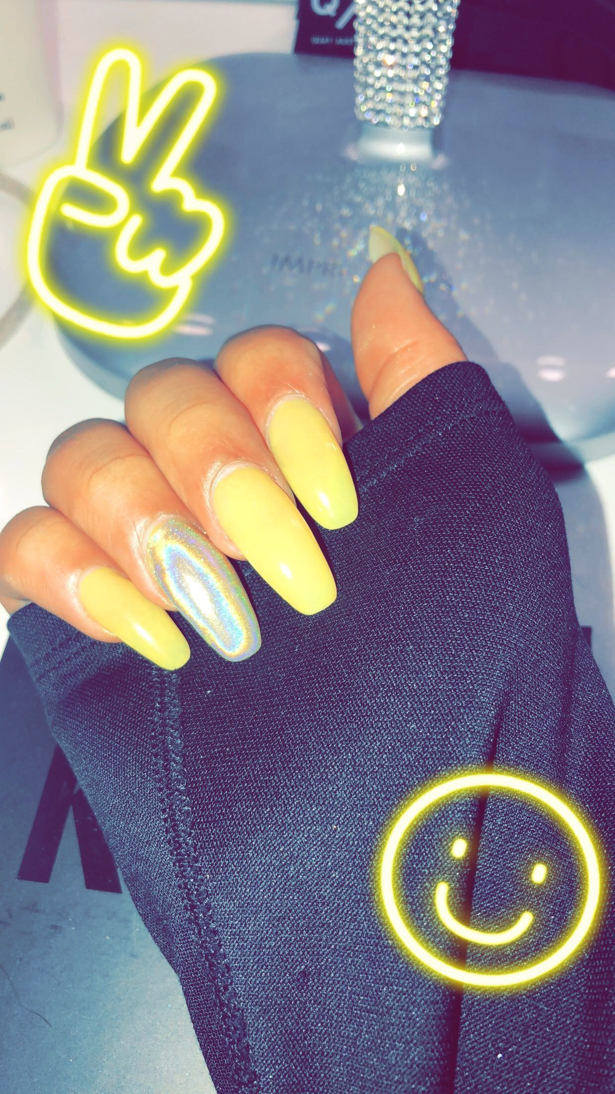 Coffin Nails Yellow Nail Designs Holographic Acrylic