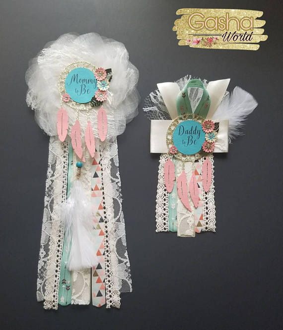 Dreamcatcher Baby Shower Corsage Mommy To Be Daddy To Be Boho