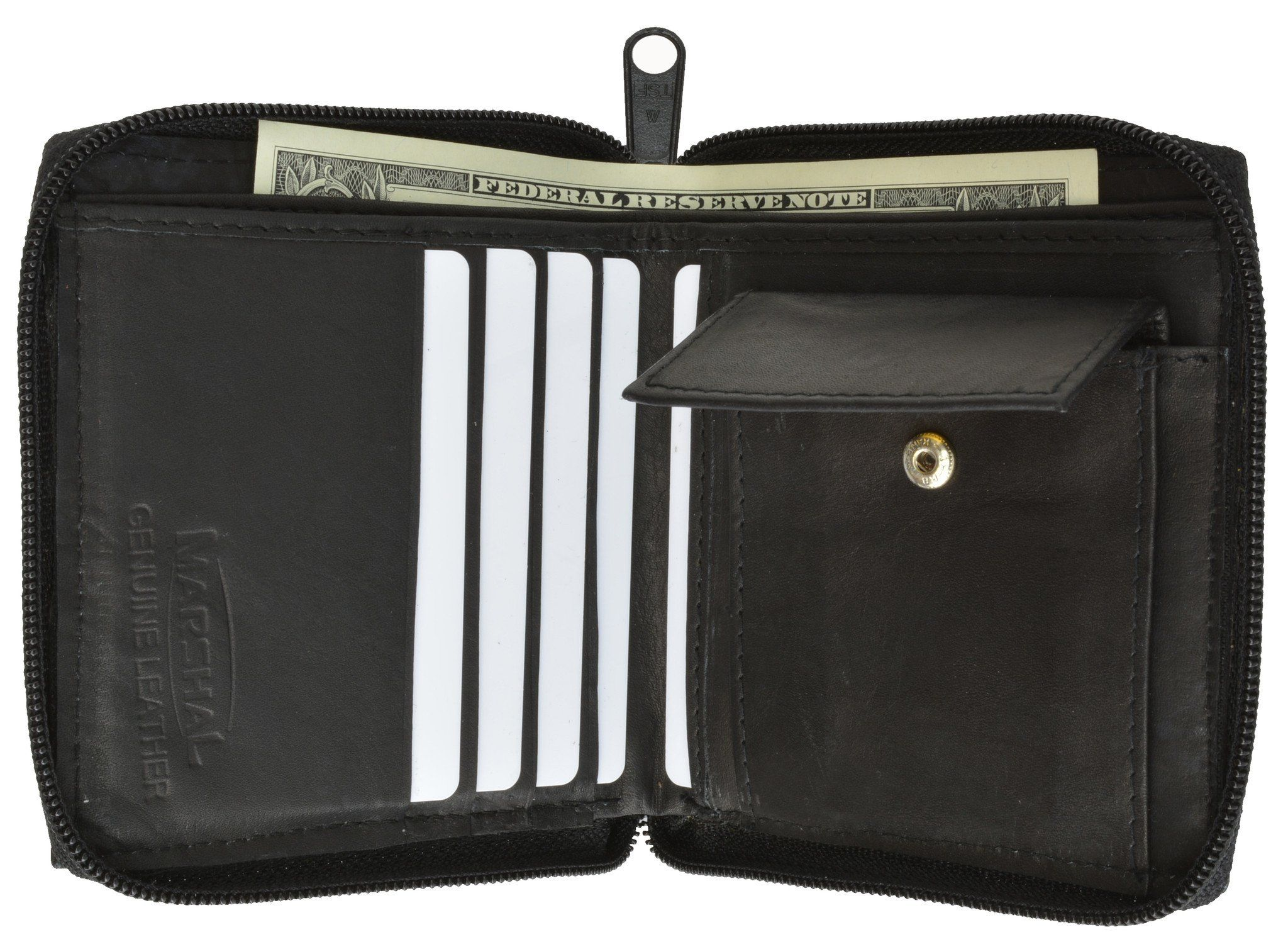 Black Mens Bifold Leather  Zip Around Wallet Card Coin Change Pocket