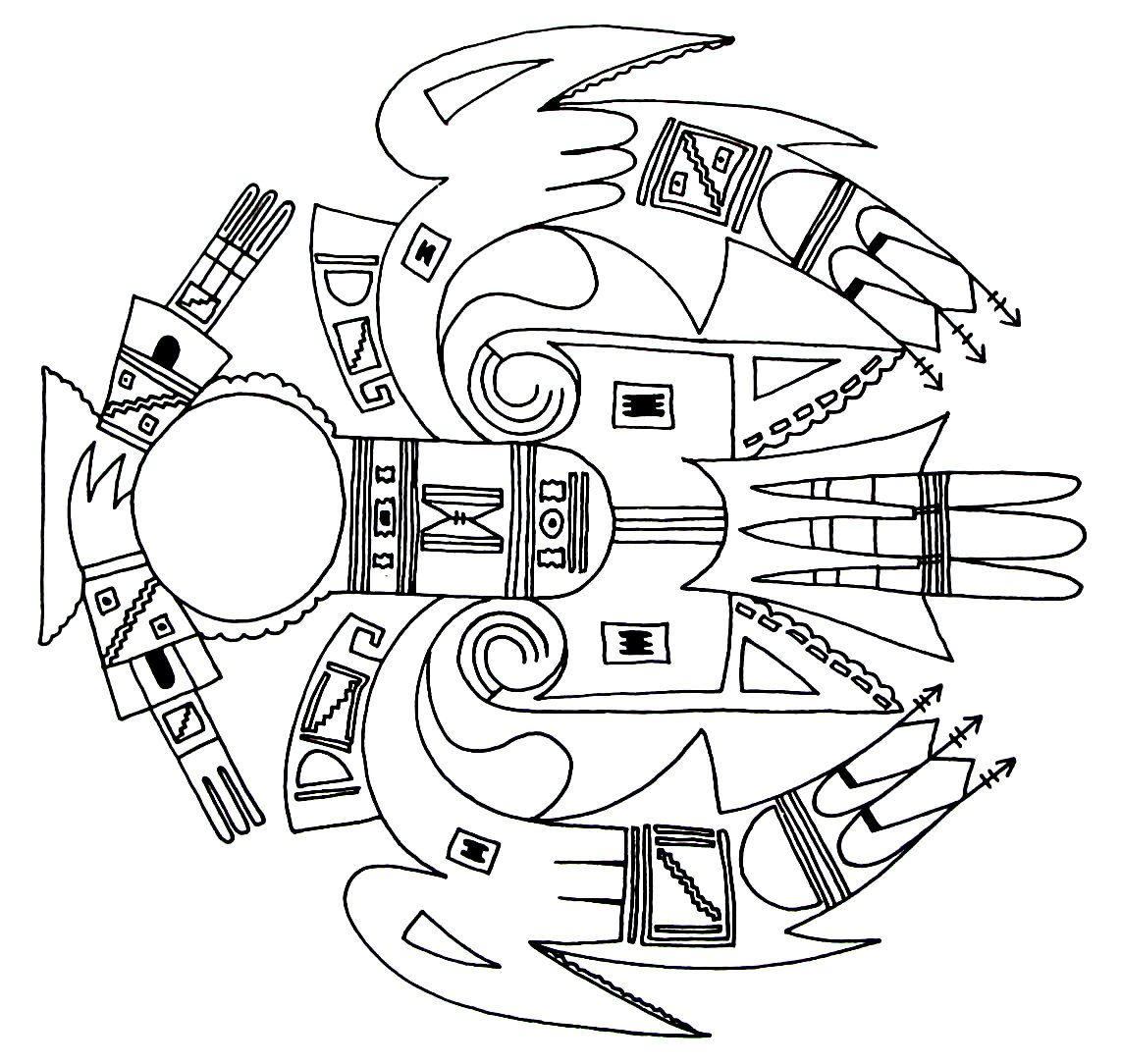 a thunderbird with cloud and arrow symbols from the nahane indians