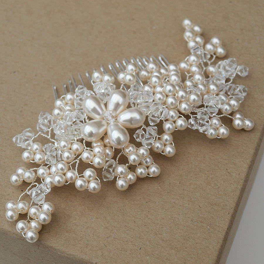 maya pearl bridal hair comb   vintage pearls, hair combs and