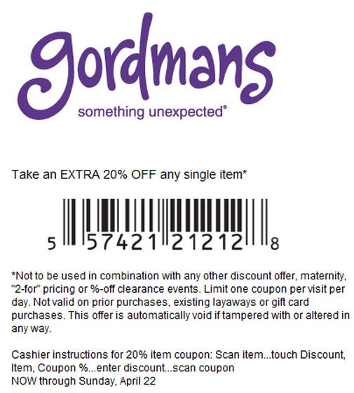 picture regarding Gordmans Printable Coupon referred to as Gordmans: 20% off Printable Coupon - Consider an additional 20% off