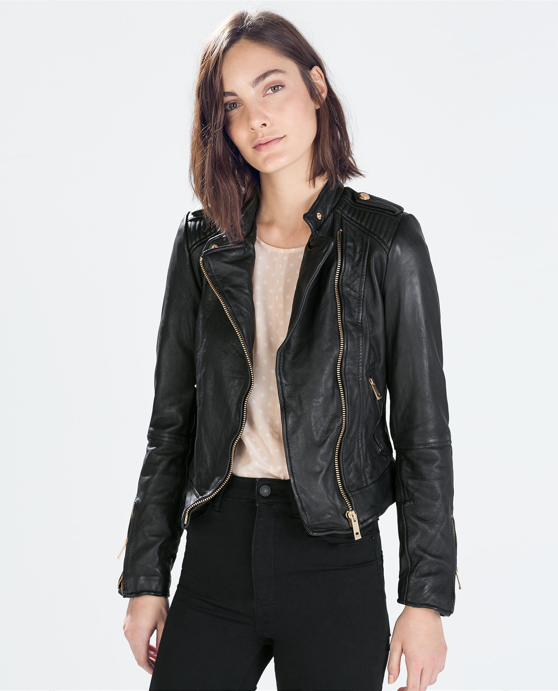 Zara Leather Outerwear women, Leather jacket, Fashion