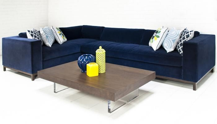 Seating Custom Monte Carlo Sectional In Navy Velvet I