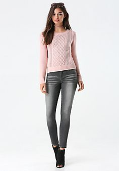 Another pretty pink sweater, with rhinestone studs! ~ Bebe ...