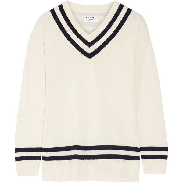 FRAME Striped wool and cashmere-blend sweater (18,750 PHP) ❤ liked on Polyvore featuring tops, sweaters, ivory, cashmere blend sweater, loose fitting sweaters, loose fitting tops, stripe sweaters and white wool sweater