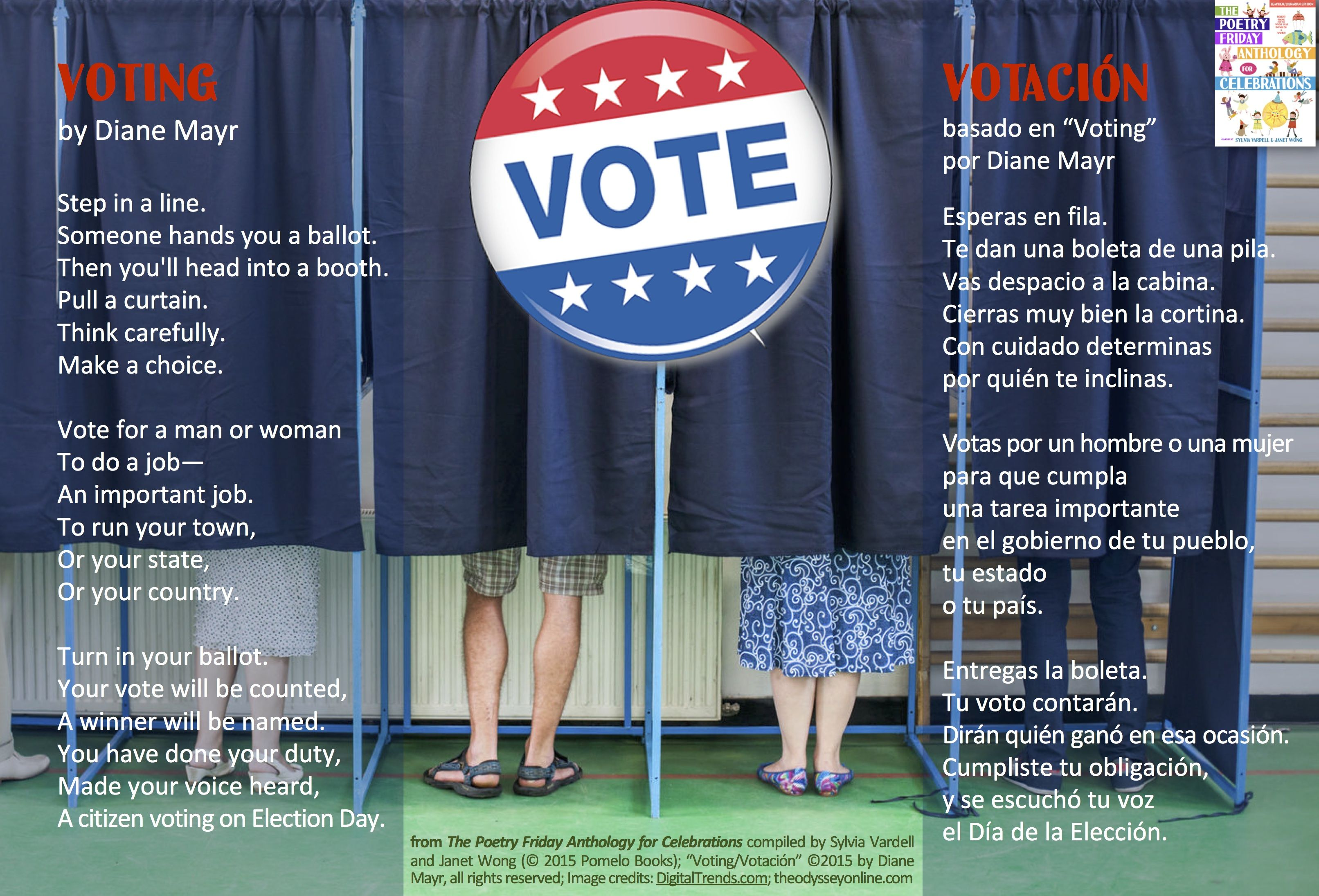 """Prepare students for Election Day with this poem, """"Voting"""" by Diane Mayr from THE POETRY FRIDAY ANTHOLOGY® FOR CELEBRATIONS edited by Sylvia Vardell and Janet Wong (Pomelo Books, 2015)"""
