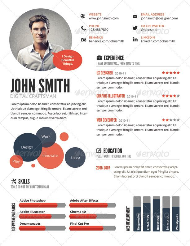 Top 5 Infographic Resume Templates u2026 Pinteresu2026 - illustrator resume