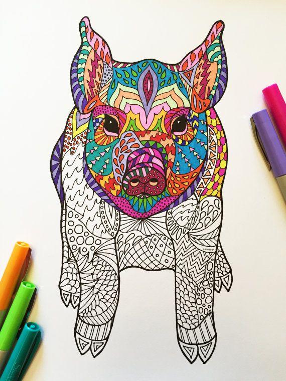 Sitting Pig PDF Zentangle Coloring Page por DJPenscript en Etsy