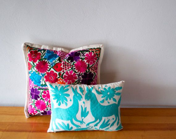 THIS LISTING IS FOR 1 OTOMI PILLOW COVER IN AQUA  DETAILS:  The fabric used to make this striking cushion cover has been hand embroidered by a group of