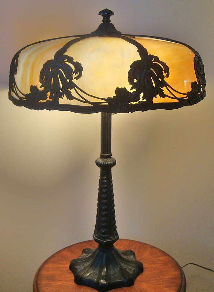 Bent Caramel Slag Stained Glass Lamp With Floral Design